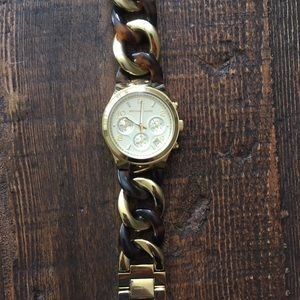 Michael Kors gold and tortoise bracelet watch